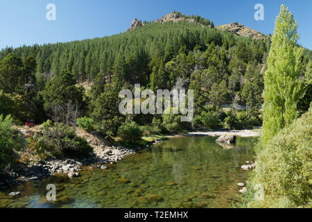 Meliquina River in the Lanin National Park, Patagonia, Argentina - Stock Image