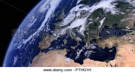 Europe, the Mediterranean Sea and North Africa from space - Stock Image