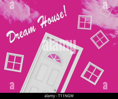 Dream House Or Dreamhouse Door Depicts Ideal Property For You. Dreaming About Luxury Home Or Apartment - 3d Illustration - Stock Image