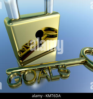 Padlock With Goals Key Showing Objectives Hopes And Future - Stock Image