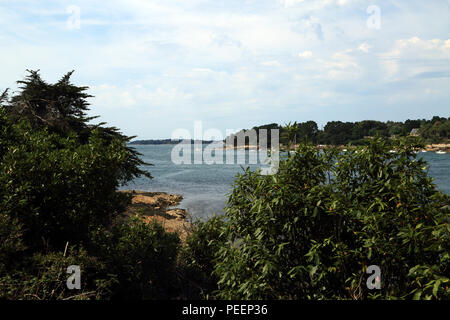 View of Golfe du Morbihan from Mane Ranville, Ile aux Moines, Morbihan, Brittany, France - Stock Image