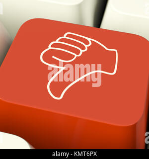 Thumbs Down Icon Computer Key Showing Dislike Failure Or False - Stock Image