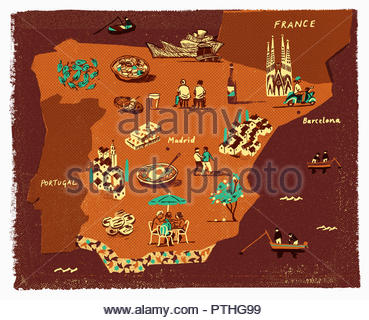 Illustrated tourism map of Spain - Stock Image