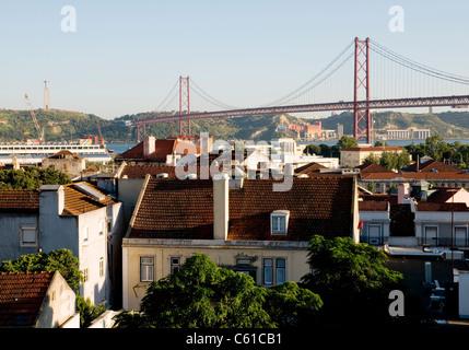 The Ponte 25 de Abril (25 April Bridge) in Lisbon - Stock Image