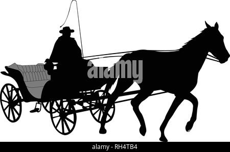 vintage carriage silhouette 2 - vector - Stock Image