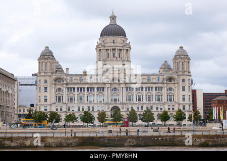 Liverpool Pier Head Port of Liverpool building was Mersey Docks and Harbour Board Offices Edwardian Baroque built 1907 waterfront embankment - Stock Image