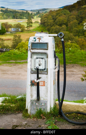 photograph of old petrol pump in scottish highlands - Stock Image