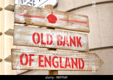 Sign for Old Bank of England Pub, Fleet Street, London UK in former Bank of England's Law Courts - Stock Image