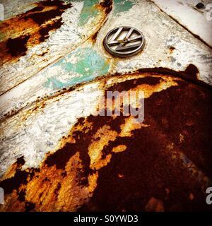 Rusty car bonnet of Volkswagen Beetle - Stock Image