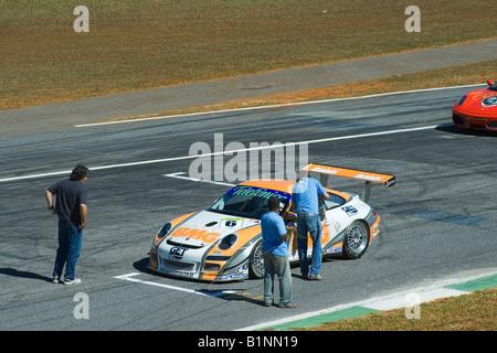 TV Press Working, Porsche 997 Cup S GT3, Brazilian Racing Cup, Nelson Piquet Autodrome, Brasilia, Brazil, South - Stock Image