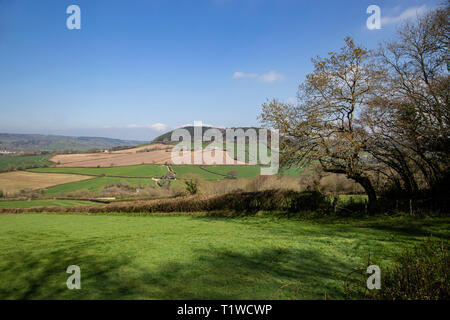 View looking across the Sid Valley, near Sidmouth, Devon, looking from Trow Hill to Buckton Hill. - Stock Image