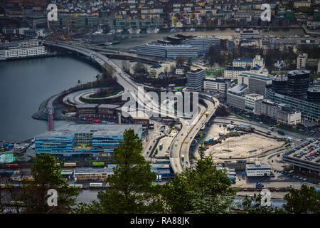 Aerial image of Bergen road infrastructure Norway. - Stock Image