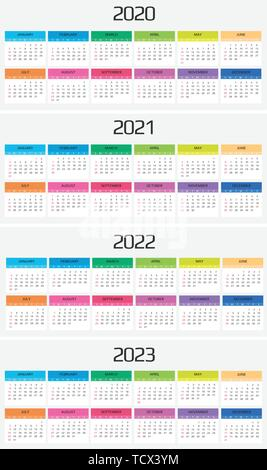 Calendar 2020, 2021, 2022, 2023 template. 12 Months. include holiday event. Week Starts Sunday - Stock Image