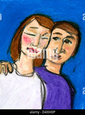 Man consoling a woman. - Stock Image