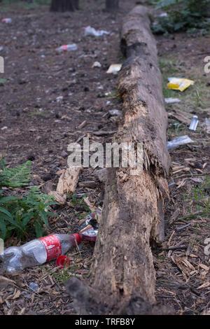 Rubbish dumped at side of a dirt track in a field in Hertford, UK. - Stock Image