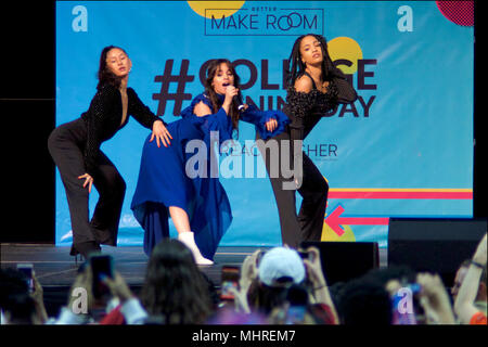 Philadelphia, USA. 2nd May 2018Michelle Obama is joined by students, stars, performing artists and athletes for the fifth  annual College Signing Day, hosted by Reach Higher, at Temple UniversityÕs Liacouras Center in North Philadelphia, on May 2, 2018. The Former First Lady is joined by 7.000 students and (on stage) stars, performing artists and athletes including Bradley Cooper, Rebel Wilson, Zendaya, Robert De Niro, Camila Cabello, Questlove, Anthony Mackie and Janelle Monae. Credit: Bastiaan Slabbers/Alamy Live News - Stock Image