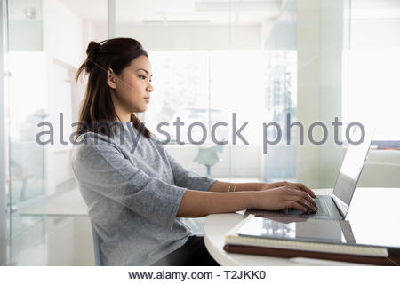 Businesswoman working at laptop - Stock Image