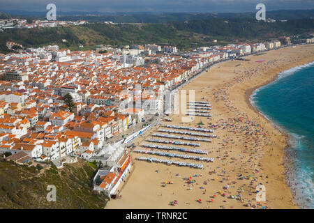 High-angle view of the town of Nazare and beach, Estremadura, Portugal, Europe - Stock Image