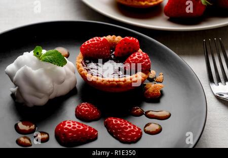 Strawberry jam tart - Stock Image