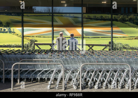 Poster display at an Asda store depicting a rural scene, part of their championing of great British quality; Northampton, UK - Stock Image
