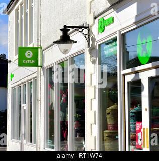 Oxfam charity shop front ,Keswick,Cumbria,England,UK - Stock Image