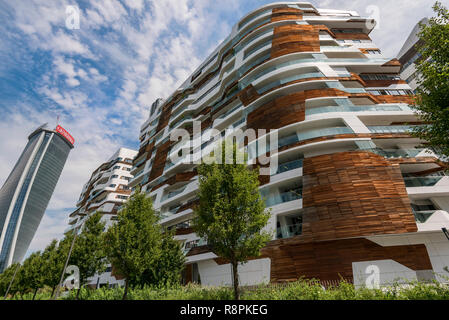 Horizontal view of the Hadid residences in Milan, Italy. - Stock Image