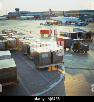 Air cargo and planes outside on the tarmac at Lester Pearson Airport in Toronto Ontario Canada   KATHY DEWITT - Stock Image
