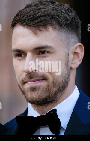 Aaron Ramsey attends The global premiere of Netflix's OUR PLANET on Thursday 4 April 2019 at The Natural History Museum, London. . Picture by Julie Edwards. - Stock Image