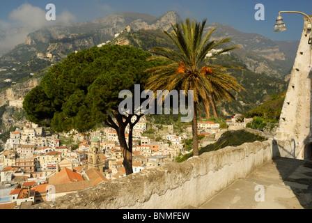 Looking down across Amalfi from San Lorenzo del Piano. Amalfi Coast, Campania, Italy. - Stock Image