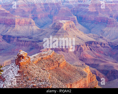 The Battleship at lower left with Cheops Pyramid at center. Grand Canyon National Park, Arizona. - Stock Image