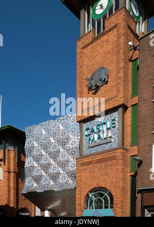 The New Refurbished Entrance to The Castle Mall Shopping Center, (2016) in Norwich, Norfolk, England, UK - Stock Image