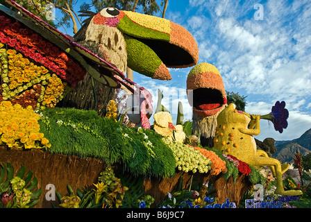 La Canada Flintridge 'Rainforest Fiesta' float Los Angeles California Rose Parade Tournament of Roses Parade - Stock Image