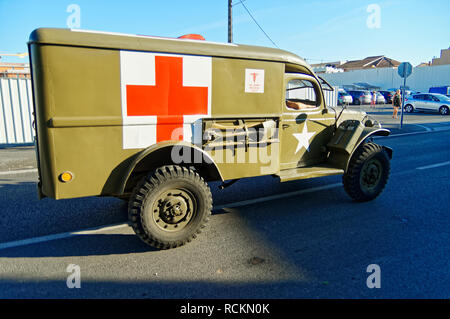 WC-54 Dodge Ambulance during the 74th Anniversary of Operation Dragoon, Provence, French Riviera (15 - 26 Aug 1944) - Stock Image