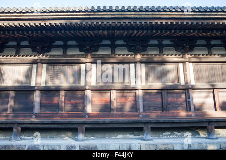 Wood panel temple exterior ancient architecture - Stock Image