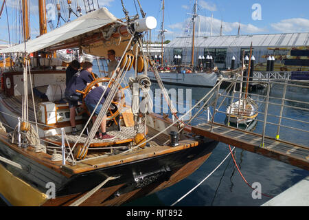 Hobart, Tasmania, Australia, 8 Feb 2019. Excited youngsters on board the tall ship Windeward Bound getting ready to welcome visitors. The 2019 Australian Wooden Boat Festival celebrates historical and current shipbuilding and is one of the world's most anticipated maritime events. Credit: Suzanne Long/Alamy Live News - Stock Image