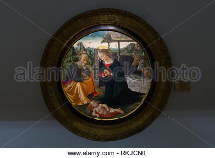 Domenico Ghirlandaio, Adoration of the Child, tempera on wood panel, Pinacoteca Ambrosiana art gallery Milan - Stock Image
