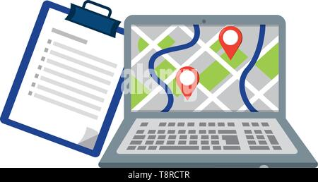 laptop showing map with location pointers and checklist vector illustration graphic design - Stock Image