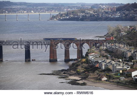 Scotrail LNER train crossing Tay Rail Bridge Scotland  March 2019 - Stock Image