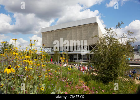 Aquatics Centre beyond wildflower meadow on a sunny day at Olympic Park, London 2012 Olympic Games site, Stratford - Stock Image
