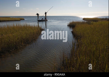 A silhouette of  a fly fisheman and a guide casting for redfish from a flats boat poling skiff in the fresh water marsh south of New Orleans, Louisian - Stock Image
