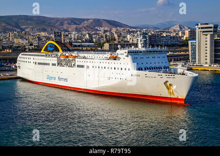 ANEK Algerie Ferries car and passenger ferry Elyros moored in port of Piraeus Athens Greece Europe - Stock Image