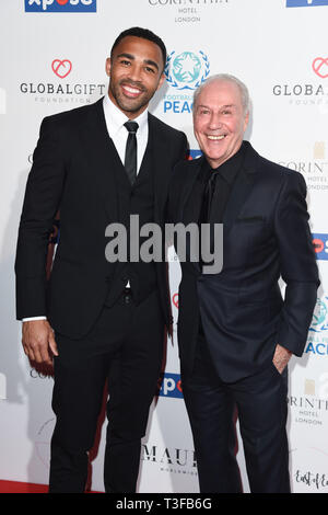 London, UK. 08th Apr, 2019. LONDON, UK. April 08, 2019: Calum Wilson & Jeff Mostyn (Bournmouth chaiman) arriving for the Football for Peace initiative dinner by Global Gift Foundation at the Corinthia Hotel, London. Picture: Steve Vas/Featureflash Credit: Paul Smith/Alamy Live News - Stock Image