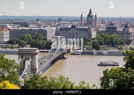 Budapest Danube Chain Bridge - Stock Image