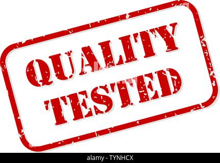 Quality tested red rubber stamp vector isolated - Stock Image