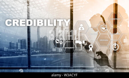 Corporate credibility improvement concept. Multiple exposure, mixed media background - Stock Image
