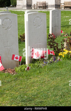 Canadian military graves at Saint Margarets in Bodelwyddan North Wales. Canadian troops were based at the nearby Kinmel Park camp - Stock Image