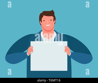 Happy businessman holding a paper sheet in his hands. Business presentation, cartoon vector illustration - Stock Image