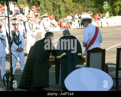 First Sea Lord Admiral Sir Alan West wearing the red sash accepts the Honorary Freedom of the City of Gibraltar from The Hon - Stock Image