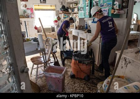 All Hands and Hearts volunteers clean a flooded house during relief efforts following Hurricane Irma November 24, - Stock Image