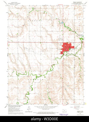 USGS TOPO Map Kansas KS Oberlin 512143 1965 24000 Restoration - Stock Image